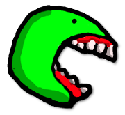 ahungry logo (a green head/face thing with a big mouth open)